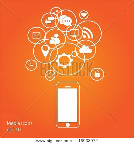 Flat mobile phone vector with social media icons