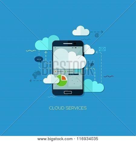 Cloud services vision flat web infographic technology application internet business concept vector
