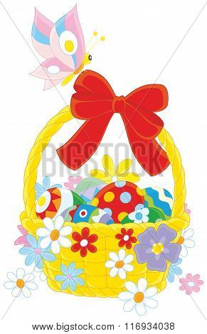 Easter basket and butterfly