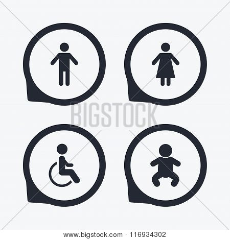 WC toilet icons. Human male or female signs.