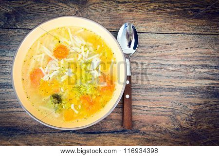 Chicken Soup with Broccoli, Carrots and Celery, Pumpkin and Nood