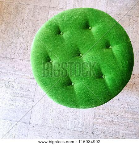 Round Green Velvet Stool