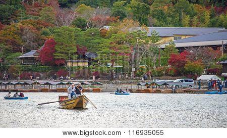People Sailing Boats At Arashiyama, Kyoto