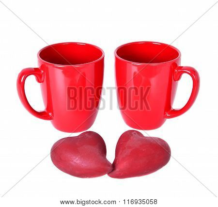 Two Red Mugs With Red Hearts