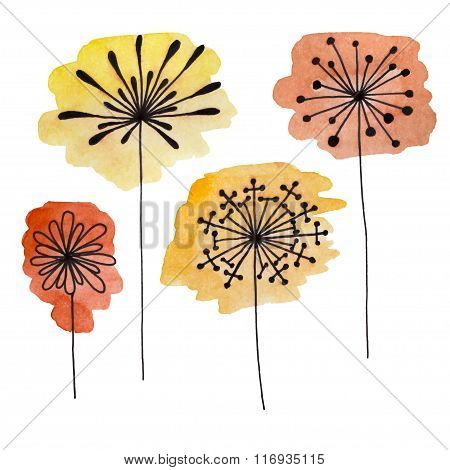 Set of abstract black hand drawn flowers on watercolor blots in doodle style. Vector Illustration EP