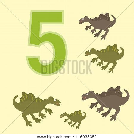 The Number 5. Five Dinosaur (spinosaurus) .