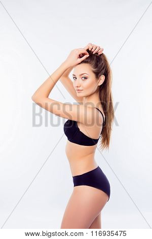 Young Sexy Woman Demonstrate Her Black Undies And Posing
