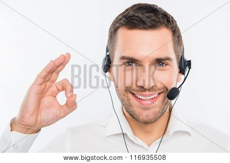 Smiling Agent Of Call Centre Gesturing