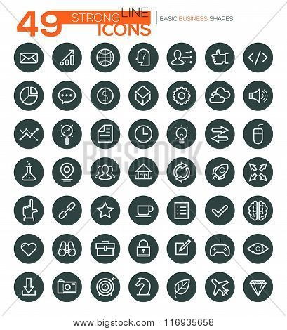 Thin Line Icons For Business, Interface, Leisure and Food. Vector eps10.