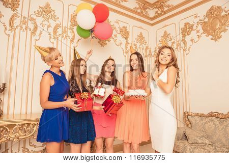 Company Of Cute Girls Celebrating Birthday Party
