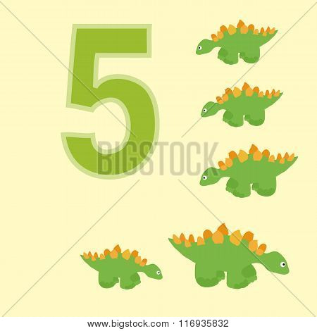 The Number 5. Five Dinosaurs (stegosaurus) .