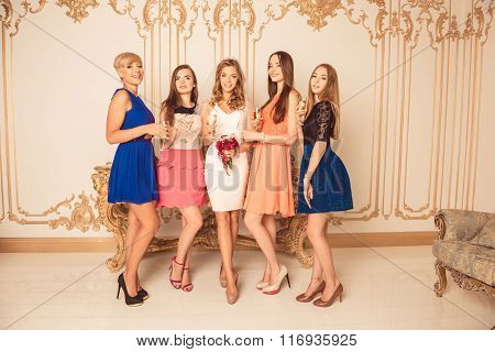 Pretty Bride With Bridesmaids Celebrating Hen-party