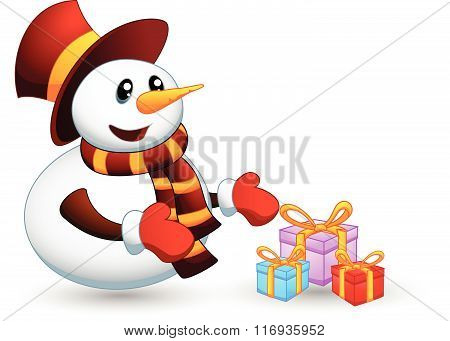vector illustration of Snowman with gift isolated on white