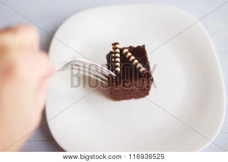 piece of cake on a white plate with a fork