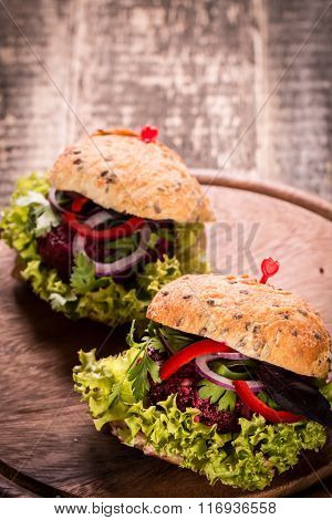 Veggie beet and quinoa burger,healthy food,vintage filter