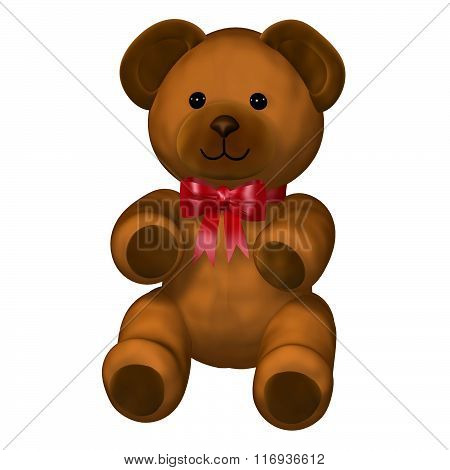 Cute brown teddy bear with red ribbon