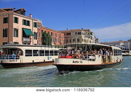Venice, Italy - September 02, 2012: Grand Canal With Vaporetto Sea Trams