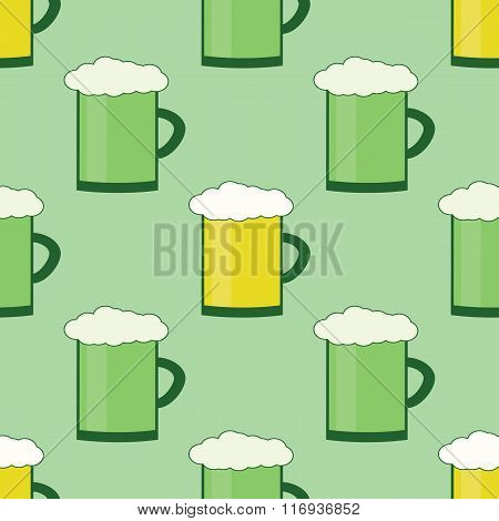 Seamles Patrick Day Pattern With Glass Of Beer