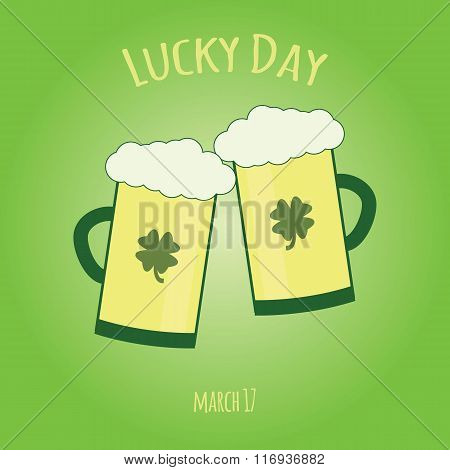 Happy Saint Patrick Day Card With Glass Of  Beer