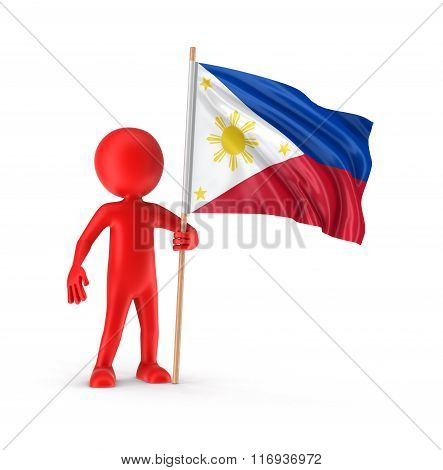 Man and Philippine flag. Image with clipping path