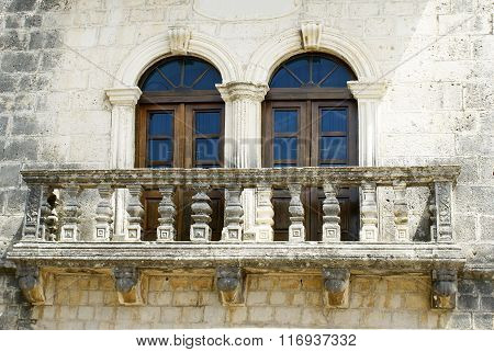 Old Balcony Windows On The Wall Of The House