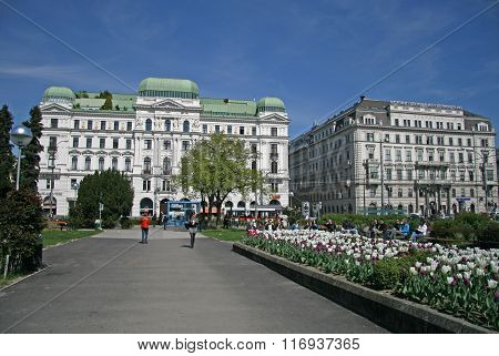 Vienna, Austria - April 22, 2010: Buildings On The Wahringer Strasse In Vienna, Austria