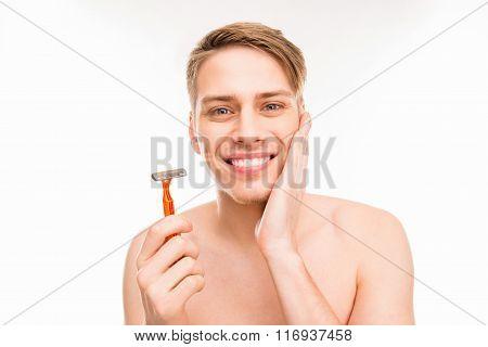 Handsome Happy Man Holding Razor On White Background
