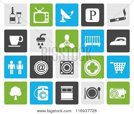 Flat Hotel and Motel objects icons
