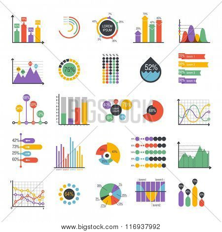 Business data graph analytics vector elements. Bar pie charts diagrams and graphs flat icons set. Infographics data analytics design elements isolated on white vector illustration
