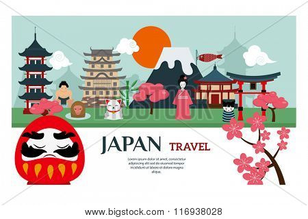 Japan landmark travel vector poster. Japan culture design elements. Japan travel time vector illustration