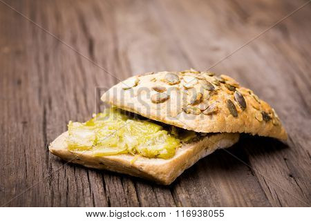 homemade leek marmalade with breadroll