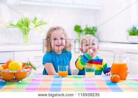 Kids Drinking Orange Juice