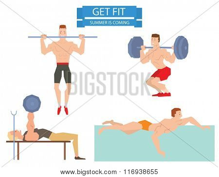 Cartoon sport gym man group exercise on fitness ball. Sport gym fitness people isolated on white background. Gym people, sport activity