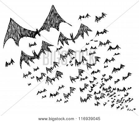 Sketch of black Halloween bats
