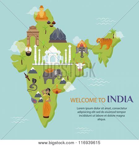 India landmark travel map vector illustration. Indian culture sign design elements. India travel time vector illustration