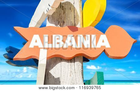 Albania welcome sign with beach
