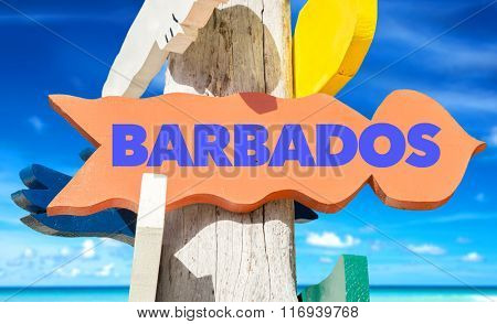 Barbados welcome sign with beach