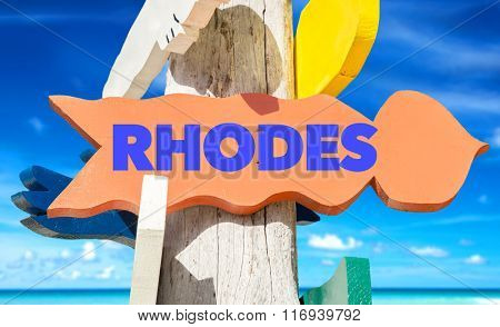 Rhodes welcome sign with beach