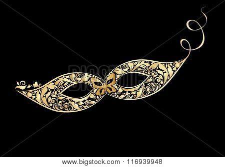Carnival golden vintage mask with floral pattern