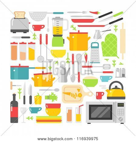 Kitchen vector flat icons isolated on white background. Kitchen sign, kitchen tools. Everyday icons. Kitchen symbols isolated