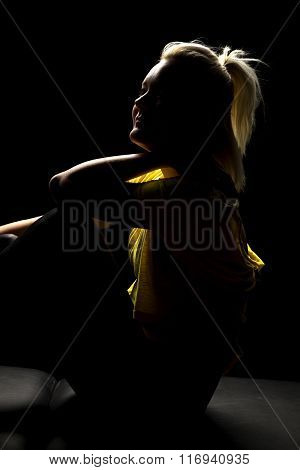 Woman Highlighted Yellow Shirt Sit Slight Smile
