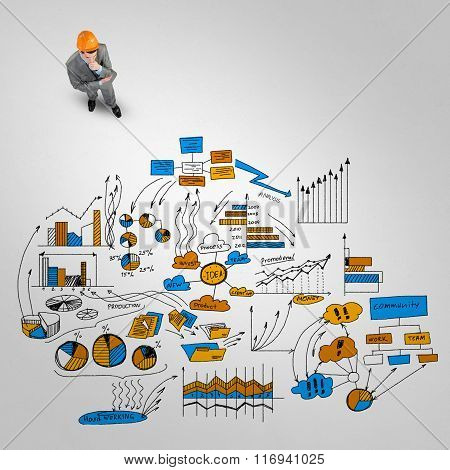 Man engineer thinking over his plan