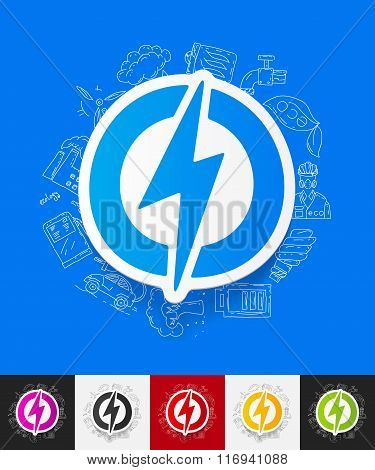 lightning bolt paper sticker with hand drawn elements