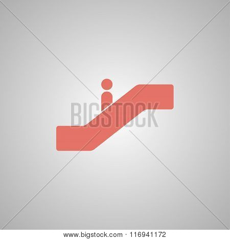 Escalator Icon. Flat Design Style.