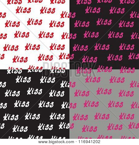 Seamless pattern set words kiss