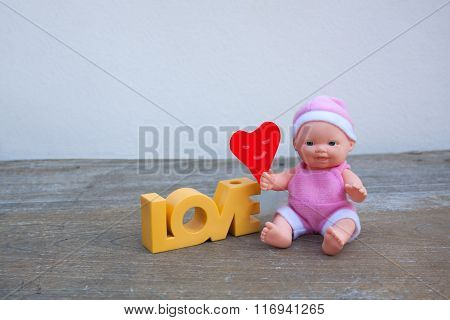 Love Happy Valentine's Heart And Smiling Doll.