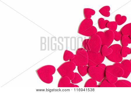 Wedding And Valentine's Day Frame. Corner Frame With Felt Hearts.
