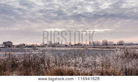 Winter village in Russia.