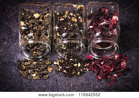 assortment of dry tea. healthy food concept