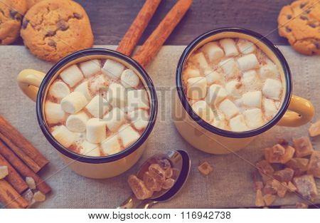 Mugs Filled With Hot Chocolate And Marshmallows